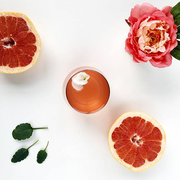 rose wine cocktail - grapefruit cocktail stock photos and pictures