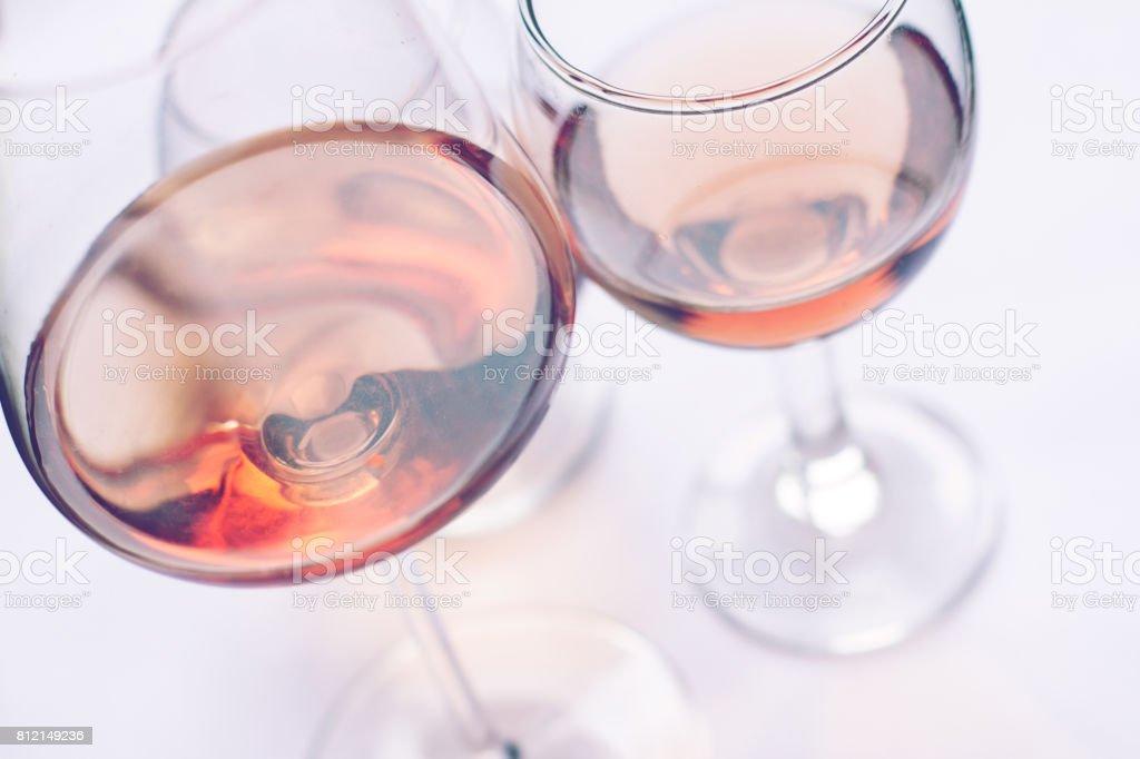 rose wine glasses stock photo