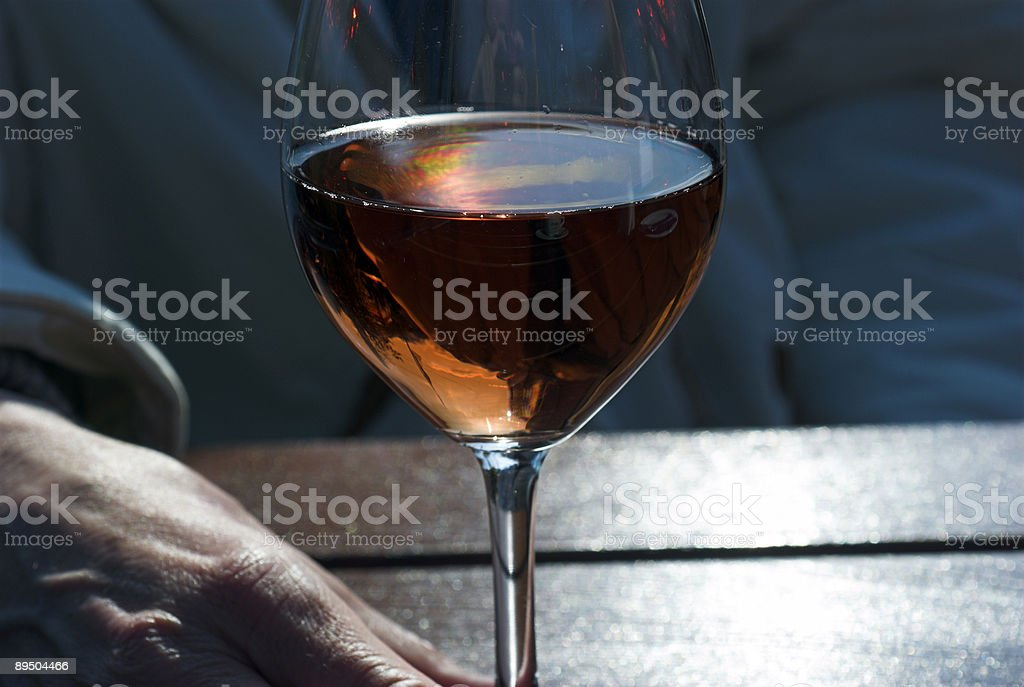 Rose wine in a glass royalty-free stock photo