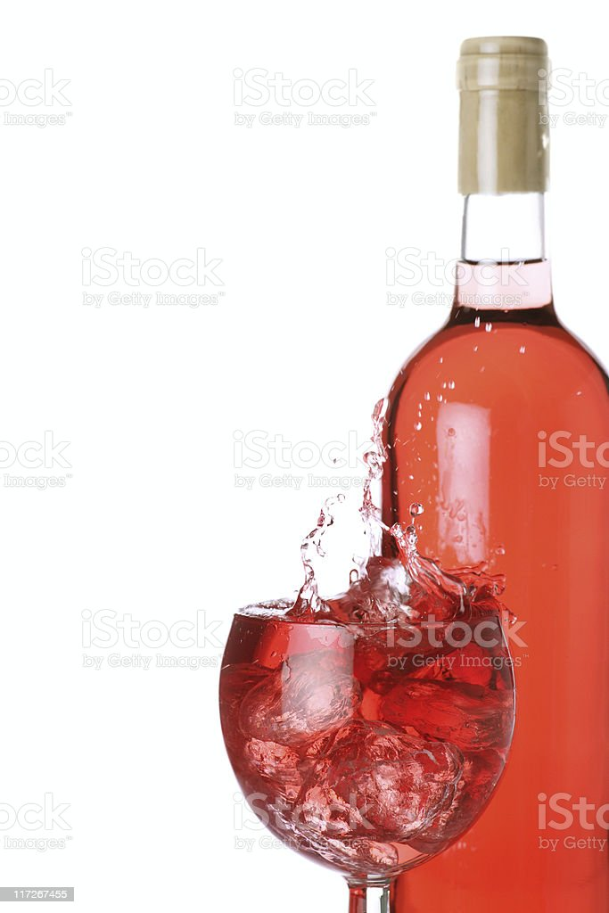 rose wine on ice royalty-free stock photo