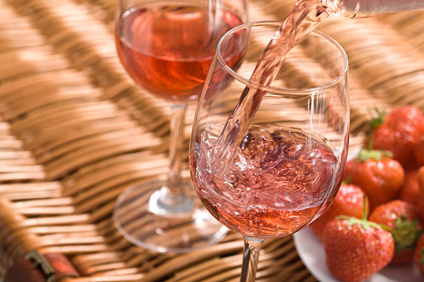 Rose Wine Picnic stock photo