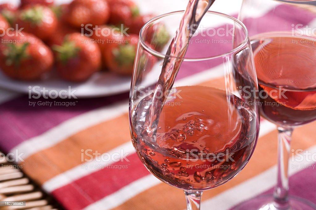 Rose Wine Picnic stock photo