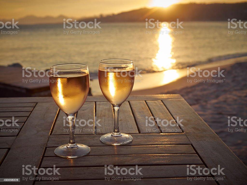 Rose wine sunset in Juan les Pins stock photo