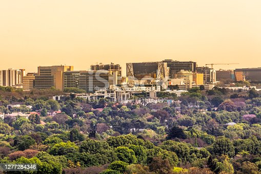 Rosebank with Killarney in the foreground, a retro cityscape of johannesburg, Johannesburg is also known as Jozi, Jo'burg or eGoli, and is the largest city in South Africa.