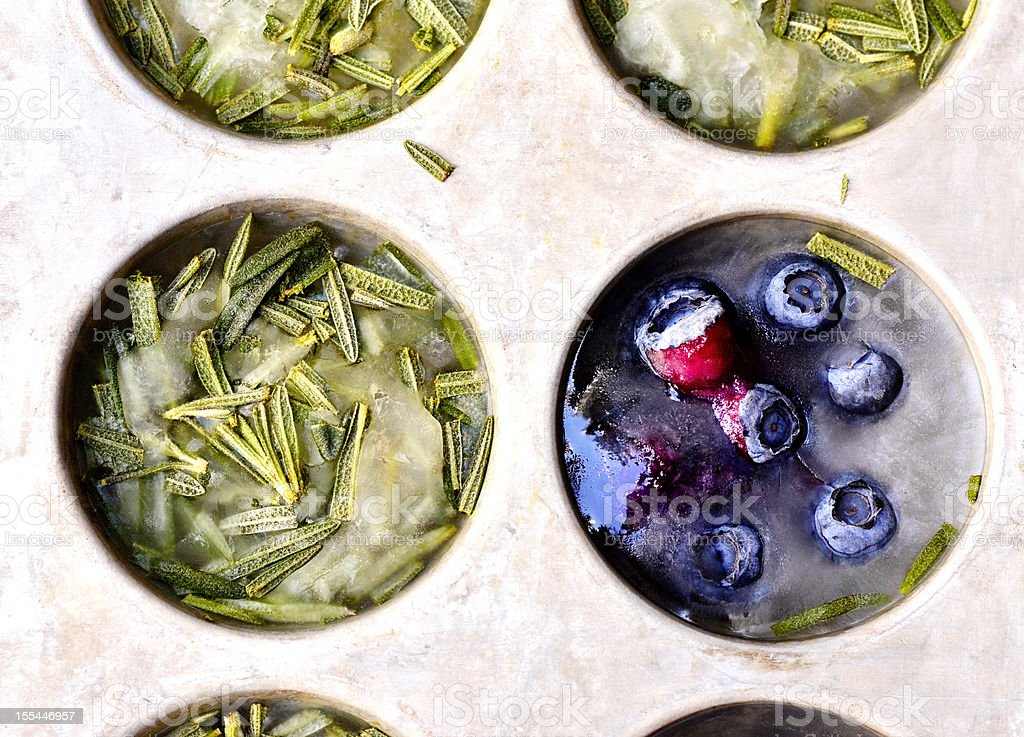 Rosemary and Blueberry Ice Cubes stock photo