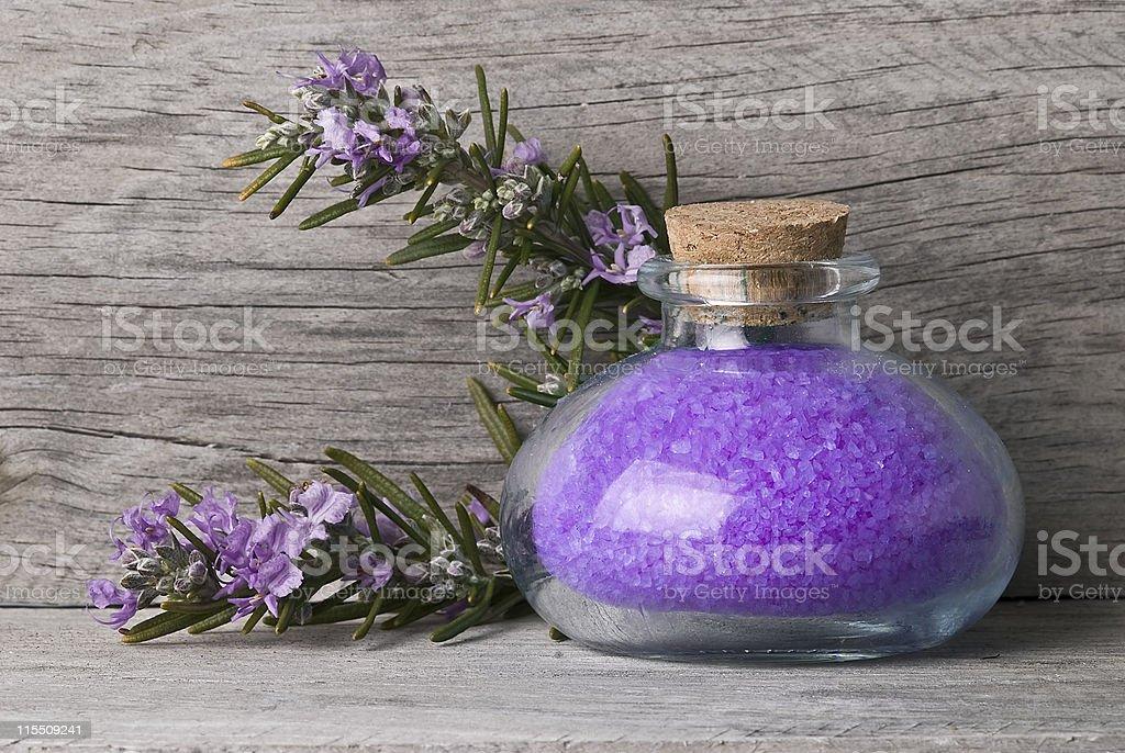 Rosemary bath salts. royalty-free stock photo