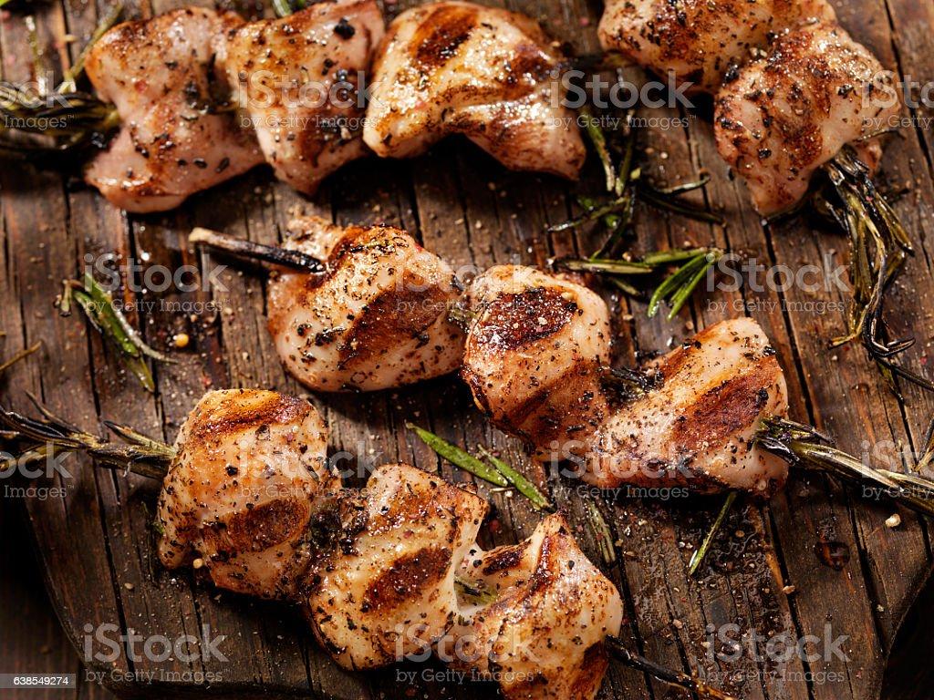 BBQ, Rosemary Chicken Skewers stock photo