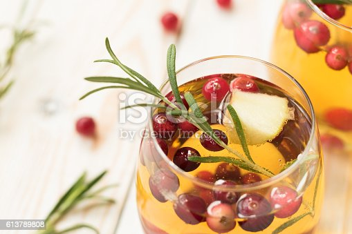 istock Rosemary cranberry white sangria with apples 613789808