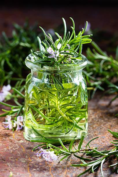 rosemary essential oil jar glass bottle and branches of plant - oli, aromi e spezie foto e immagini stock