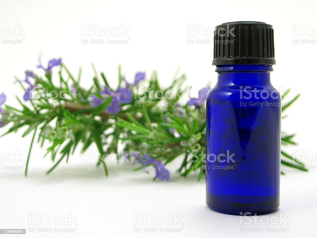 Rosemary herb & Oil bottle royalty-free stock photo