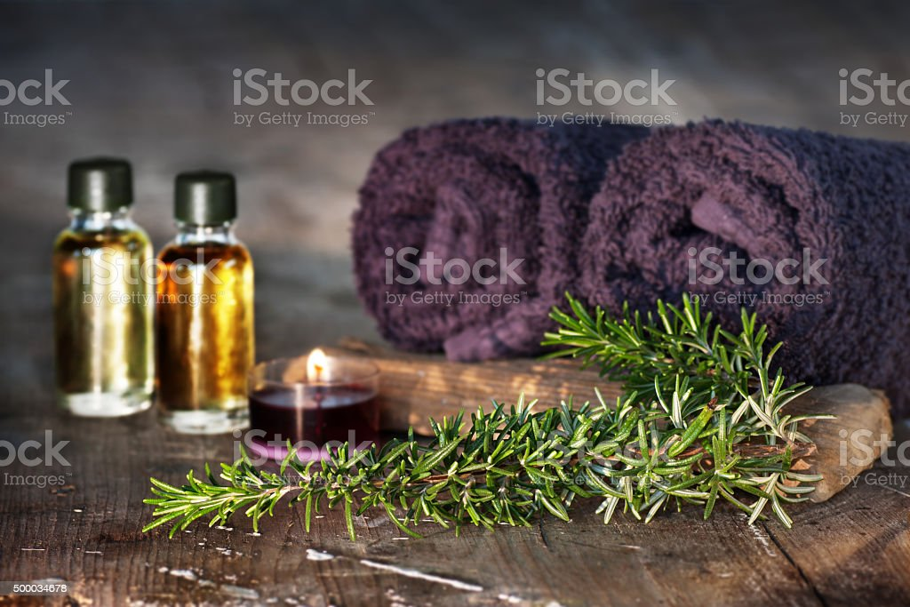 Rosemary oil for relaxing baths stock photo
