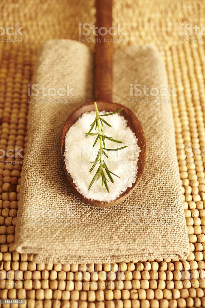 Rosemary on bath salt scrub spa still life royalty-free stock photo