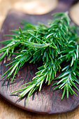 A bouquet of fragrant rosemary sprigs ready for addition to your favorite recipe.  Shallow dof