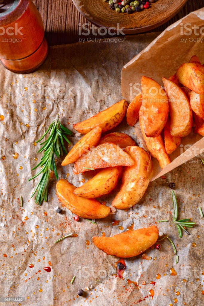 rosemary Potato wedges from the oven zbiór zdjęć royalty-free