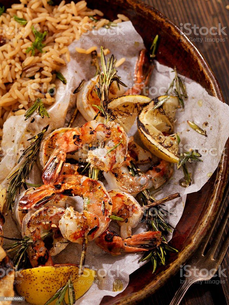 Rosemary Shrimp Skewers stock photo