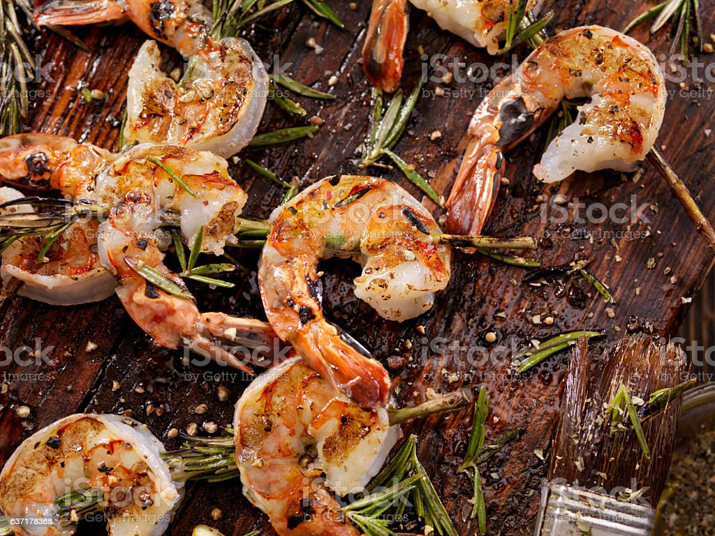 Rosemary Shrimp Skewers stock photo