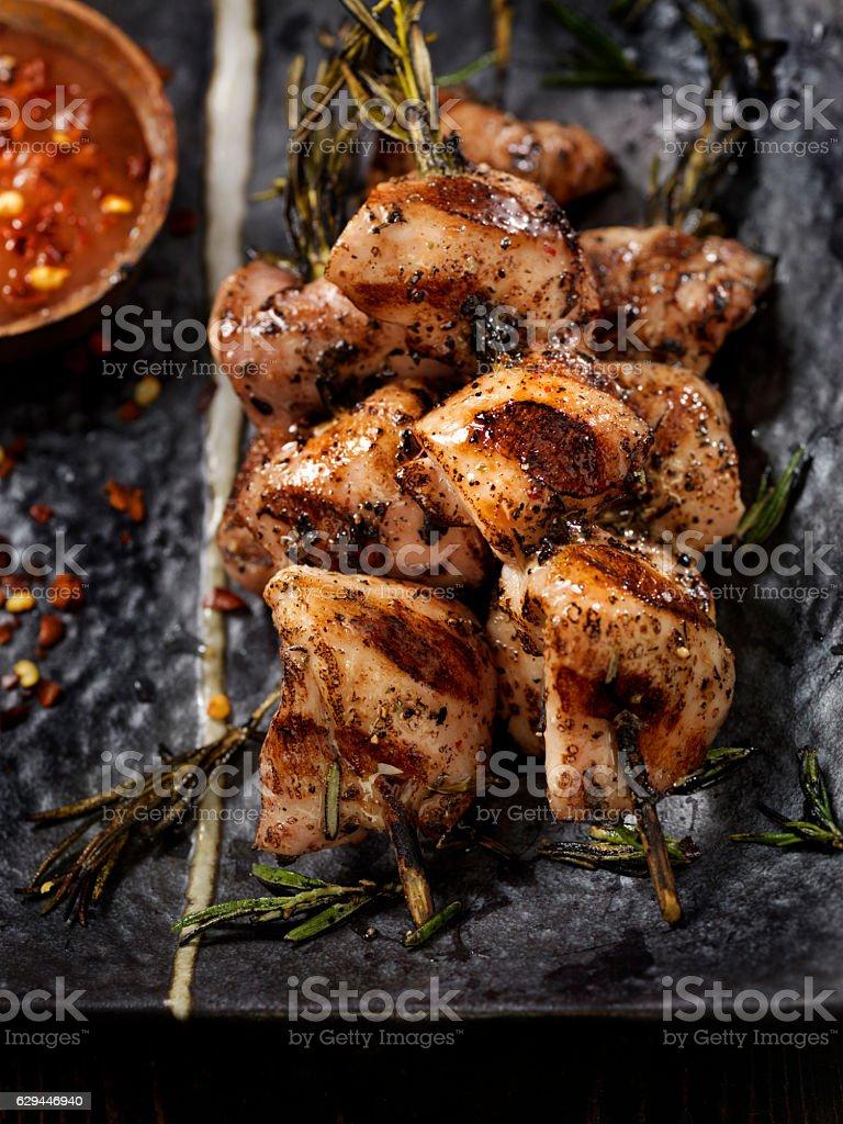 Rosemary Skewered BBQ Chicken stock photo