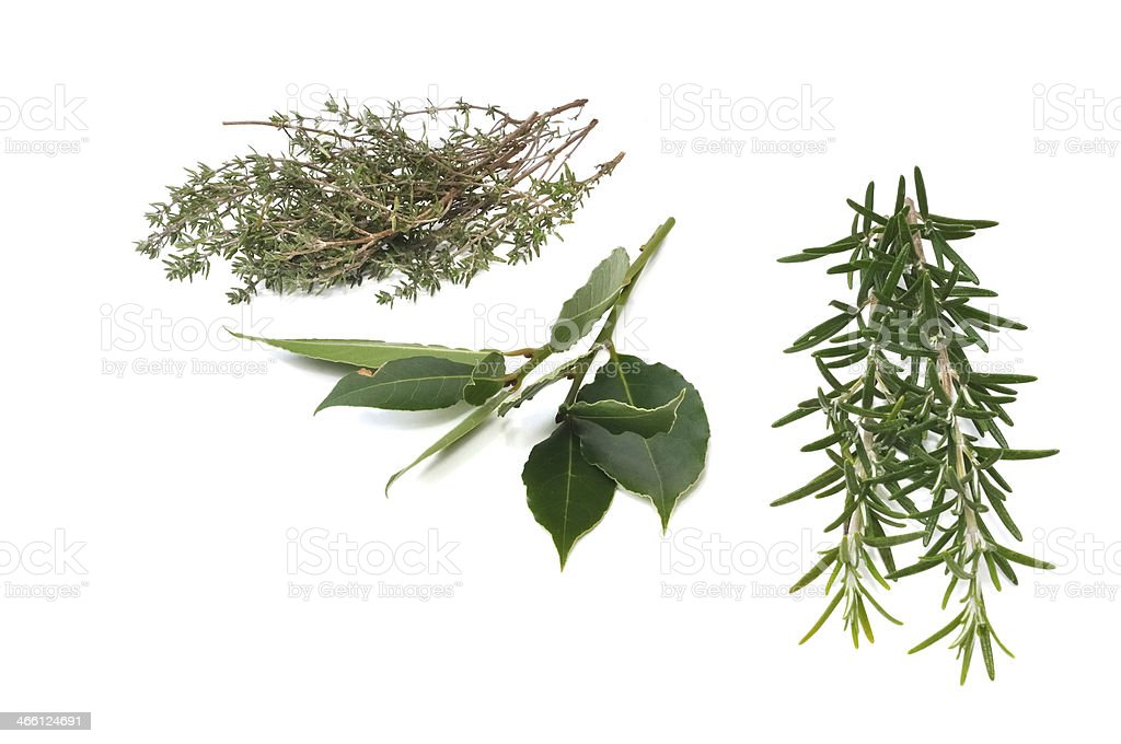 rosemary, thyme and bay leaf isolated stock photo