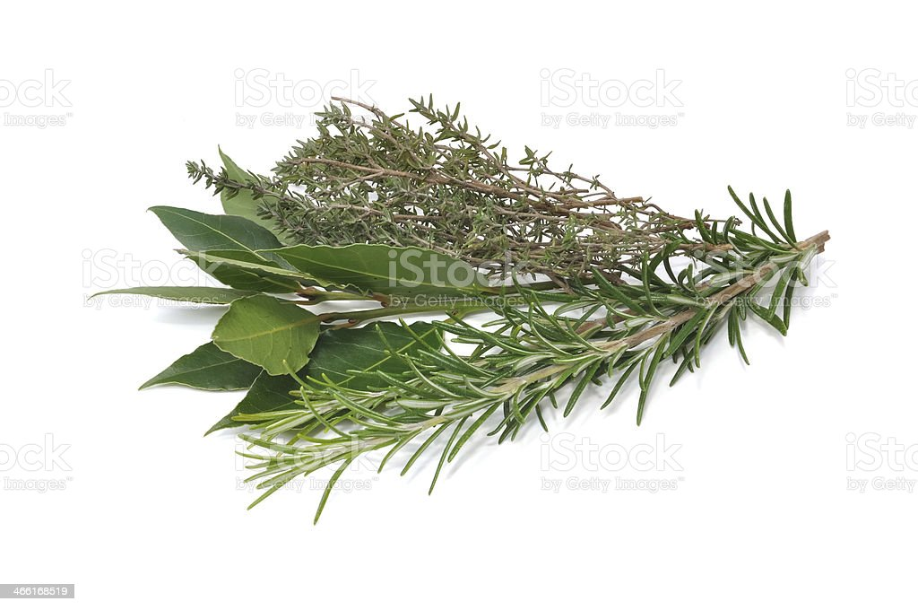 rosemary, thyme and bay leaves stock photo