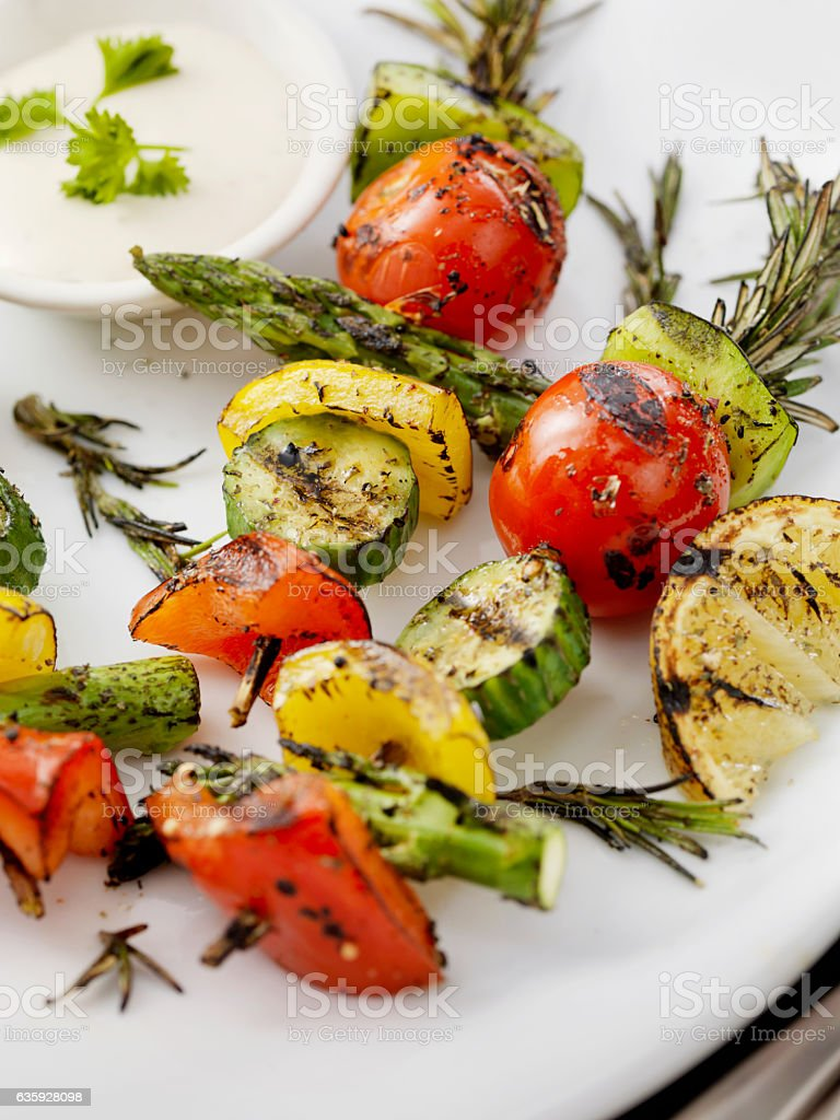 BBQ, Rosemary Vegetable Skewers stock photo