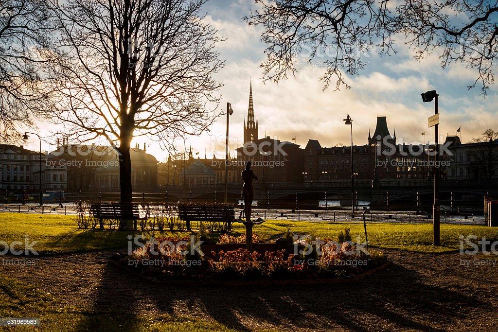 Rosenbad city park in Stockholm, Sweden stock photo
