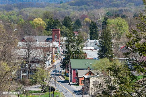 Aerial View of Rosendale, New York. Taken from the Rail Trail Bridge showing Main Street, Houses and Buildings