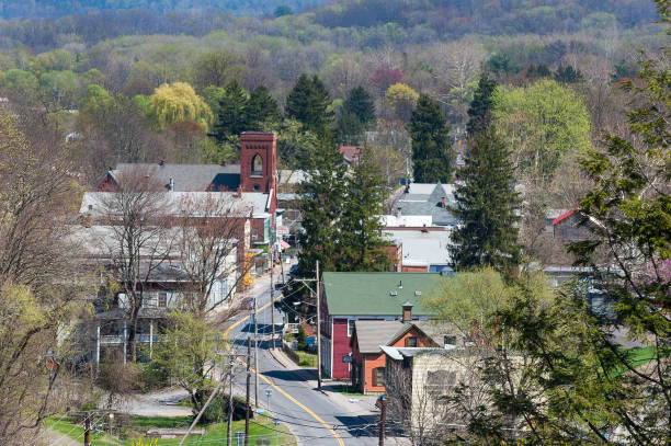 Rosendale, New York Aerial View of Rosendale, New York. Taken from the Rail Trail Bridge showing Main Street, Houses and Buildings appalachia stock pictures, royalty-free photos & images