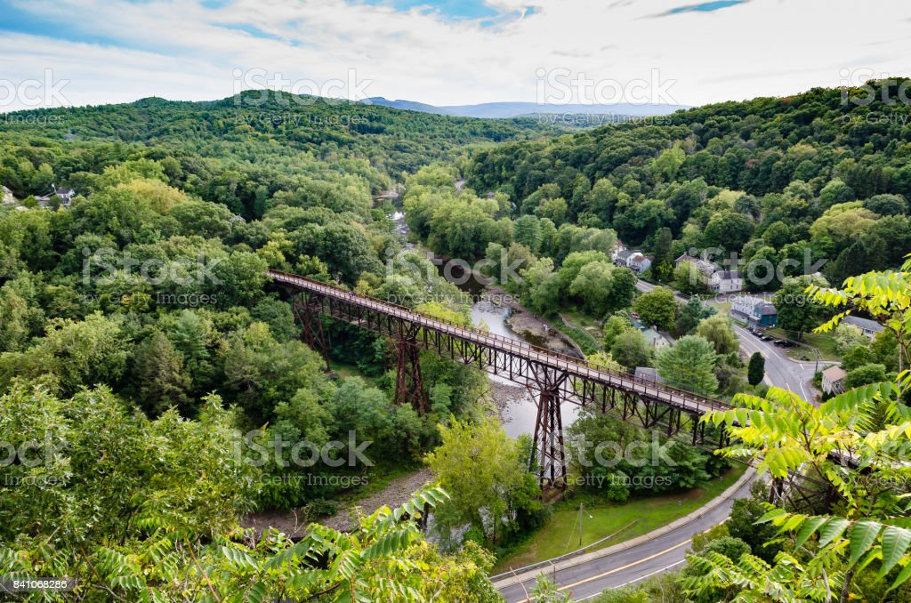 Rosendale, NY  Trestle from the Joppenbergh Mountain. stock photo
