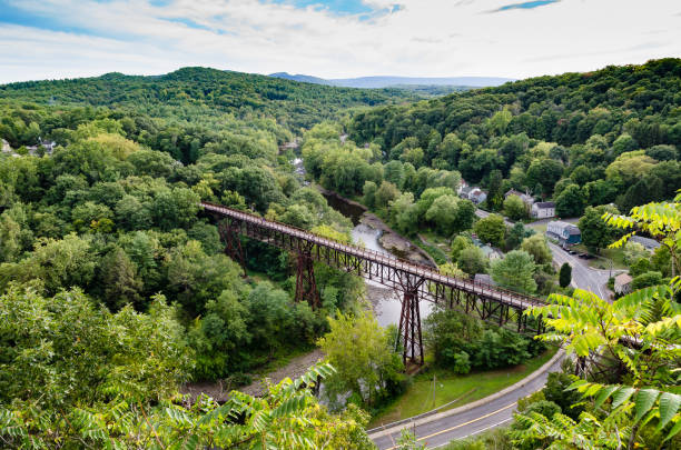 Rosendale, NY  Trestle from the Joppenbergh Mountain. View of the Rosendale, NY  Train Trestle from the Joppenbergh Mountain. Part of the Wallkill Rail Trail in upstate NY. catskill mountains stock pictures, royalty-free photos & images