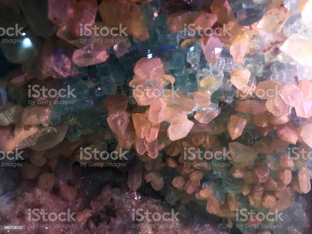 rosequartz geode on background. stock photo