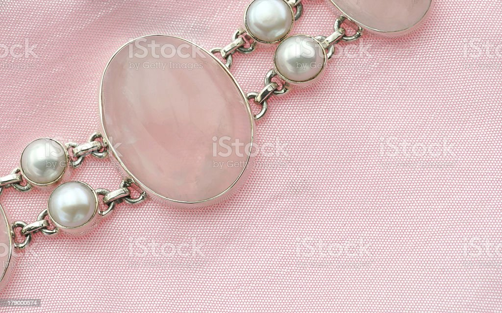 Rosequarz Jewelry with silver and pearls royalty-free stock photo