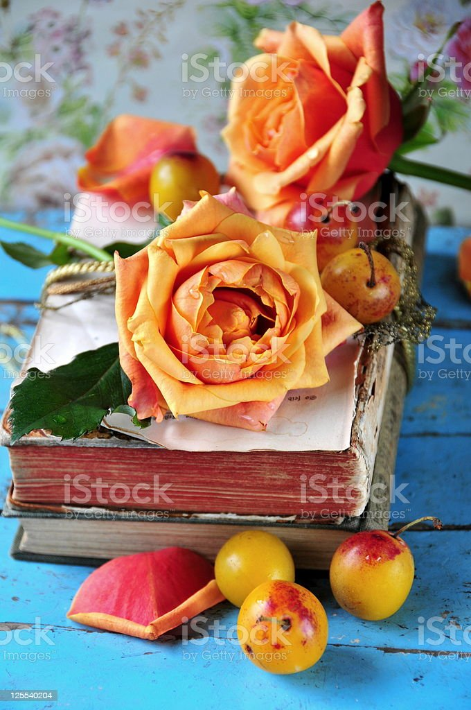 roses and antiqe books royalty-free stock photo