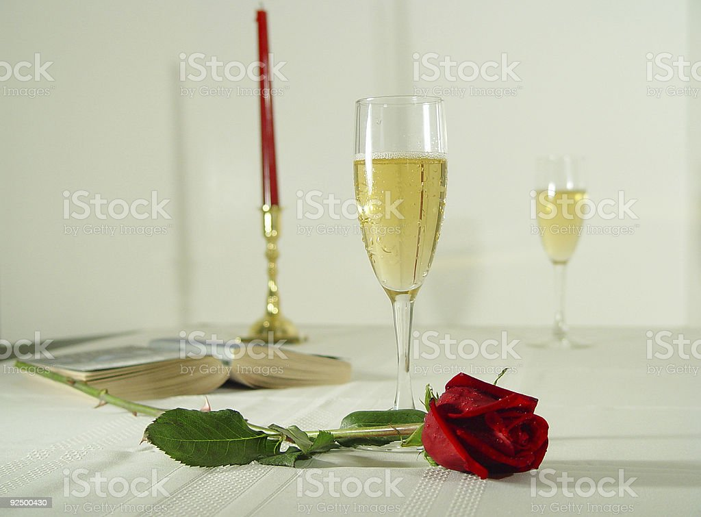 Roses and champagne royalty-free stock photo