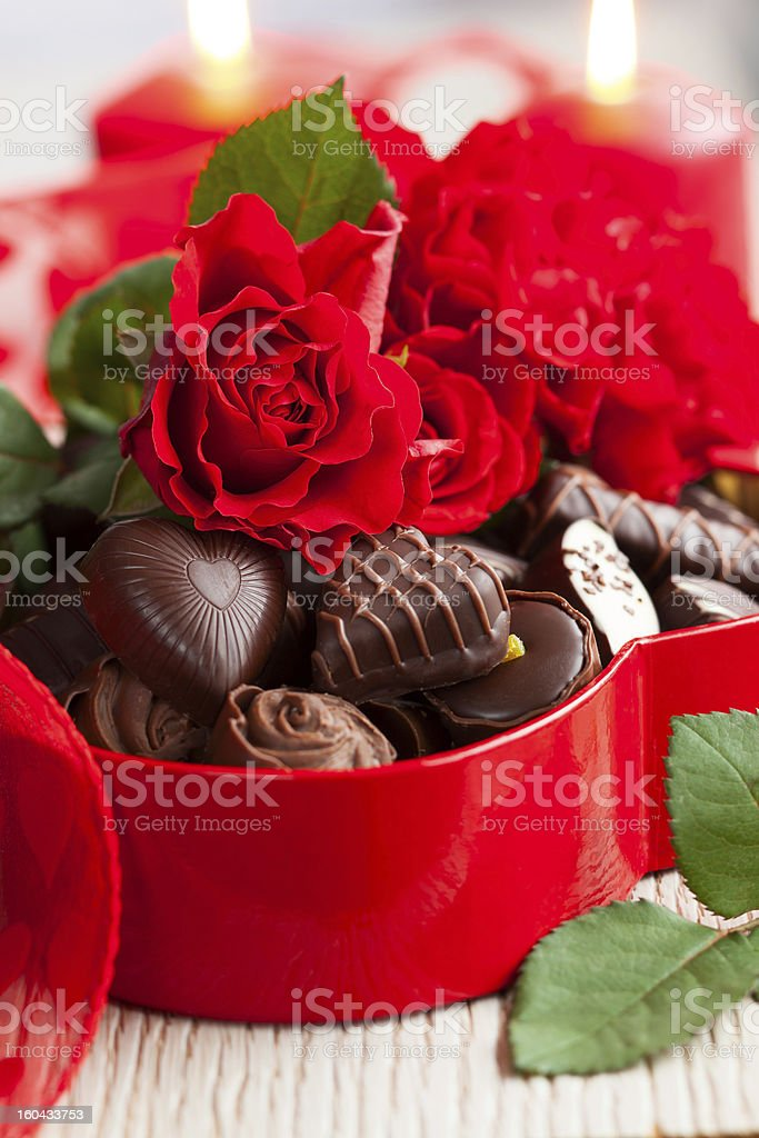 roses  and chocolate candies for Valentine's Day royalty-free stock photo