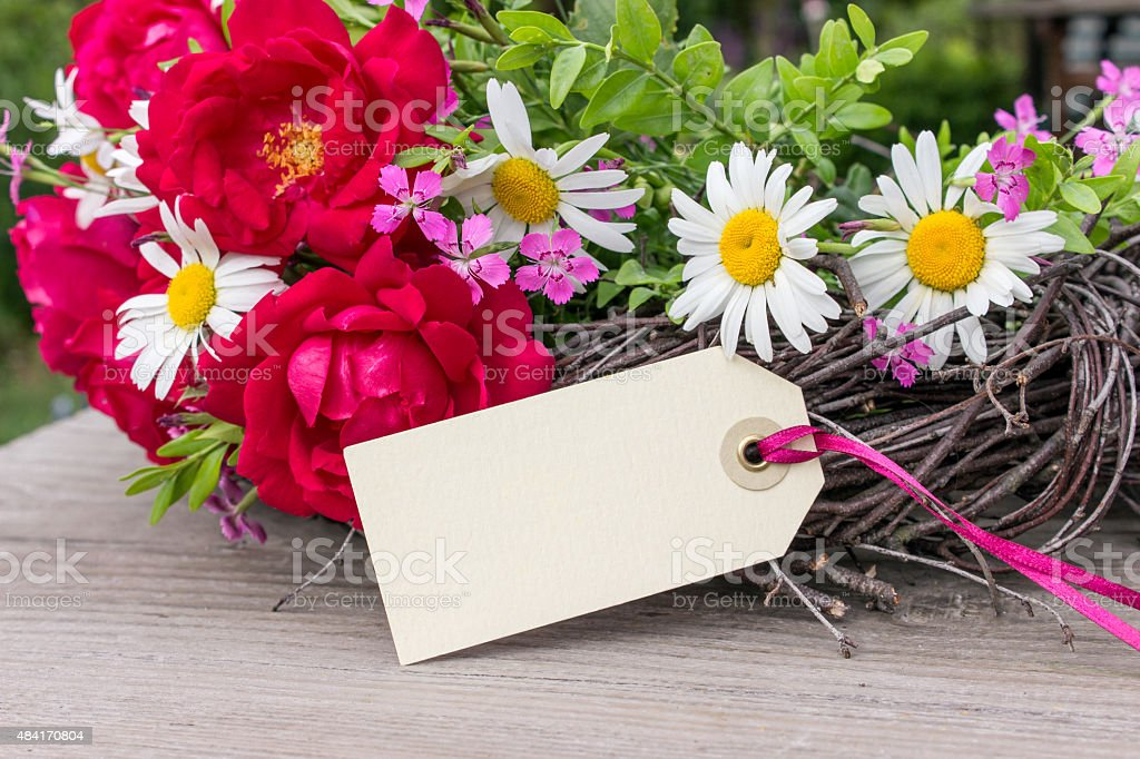 roses and daisies stock photo