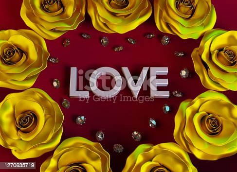 Heart shape made of diamonds and golden roses on dark red background. Design for Valentines, Mothers Day, birthday or wedding. 3d render