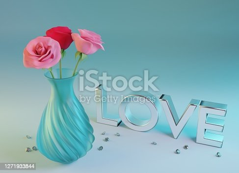 Pink and red roses in glass vase and scattered diamonds on blue background. Design for Valentines, Mothers Day, birthday or wedding. 3d render