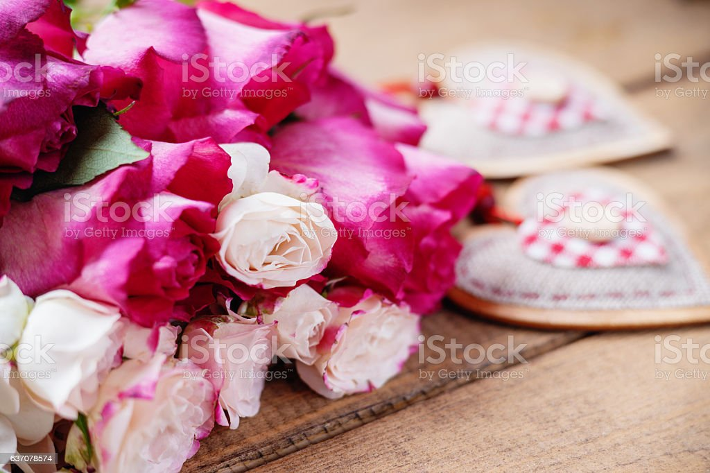 Roses and heart shapes stock photo