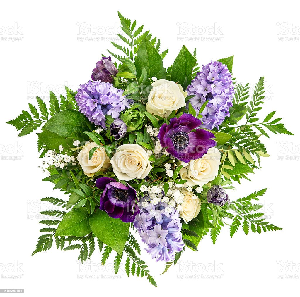 Roses and Hyacinth Flowers. Spring Bouquet stock photo