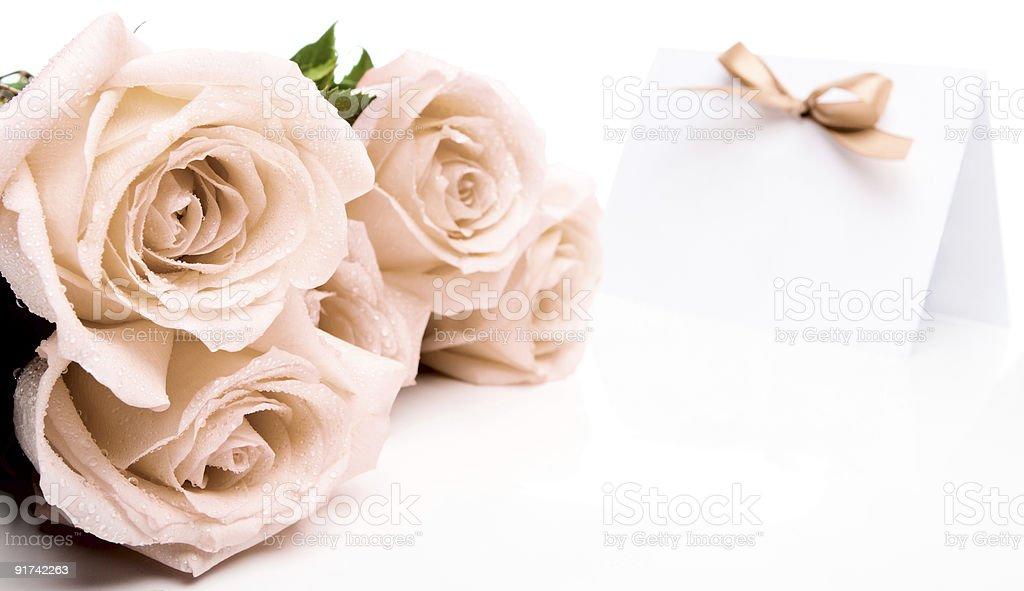 Roses and invitation card royalty-free stock photo