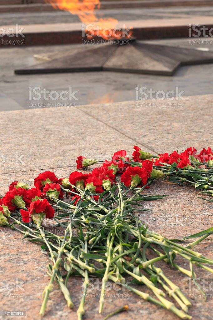 Roses and the Eternal Flame - Victory Park, Moscow - Russia stock photo