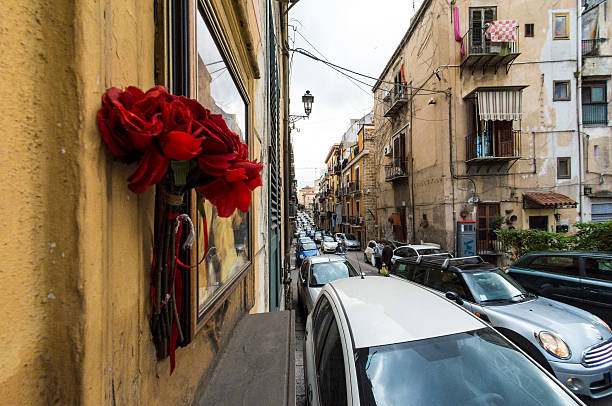 Roses and traffic in Palermo stock photo