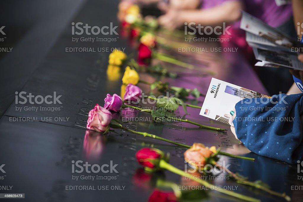 Roses at 9/11 Memorial, New York City, Manhattan, USA stock photo