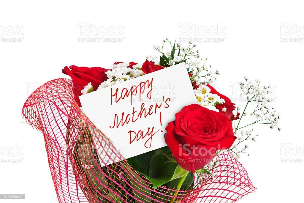 Róż Bukiet i karty dla matki zbiór zdjęć royalty-free