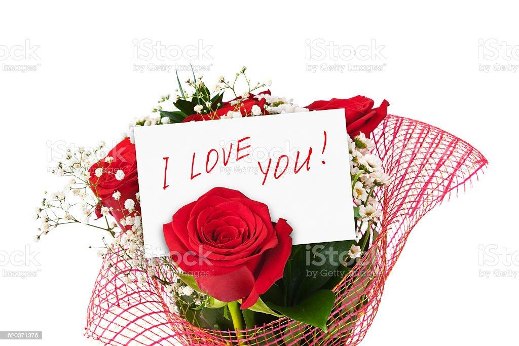 Bukiet róż i KARTKĘ zbiór zdjęć royalty-free