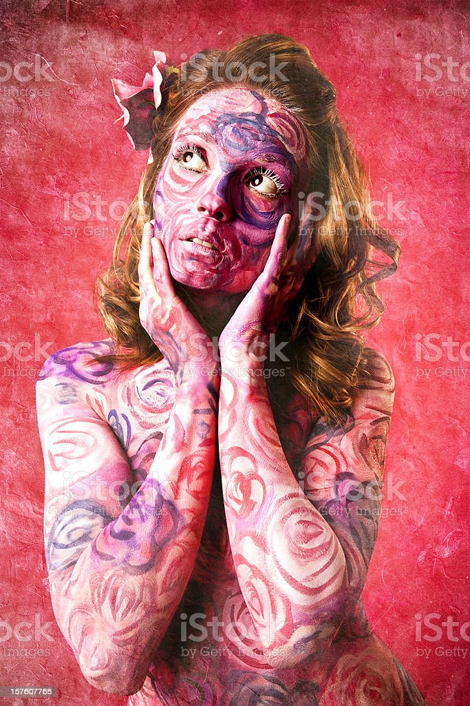 Roses Face and Body Paint. Stylized with grunge effect.