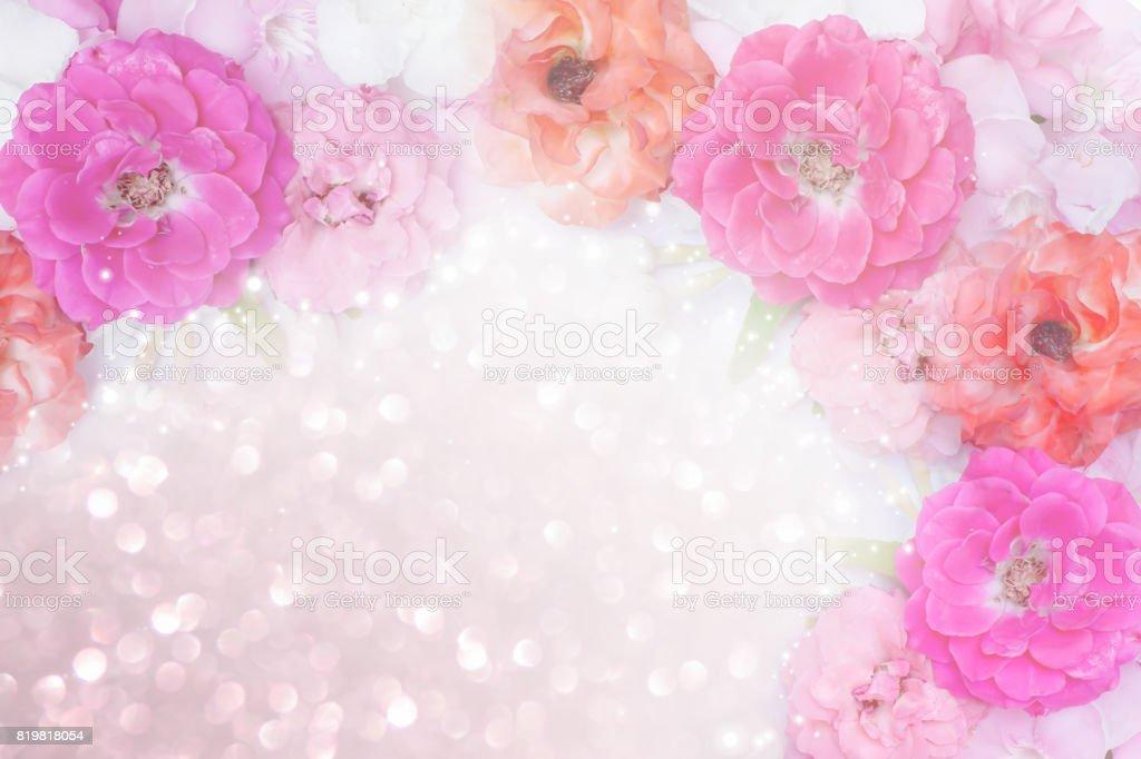 Rosen blühen Rand Glitzer Hintergrund zum Valentinstag – Foto