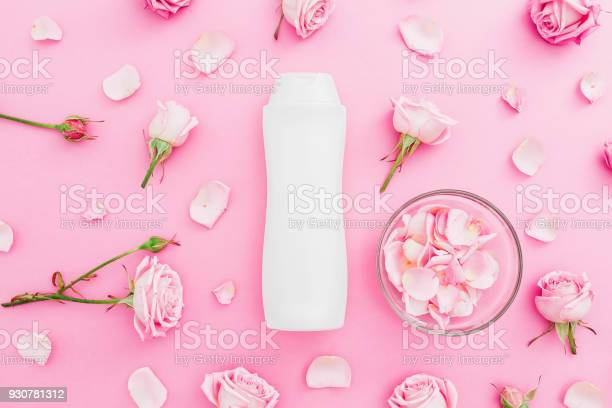 Roses flowers with petals and shampoo on pink background beauty picture id930781312?b=1&k=6&m=930781312&s=612x612&h=iwmxwheepxx9hdf pcwnfnwqngddon 12mfamcyizl4=