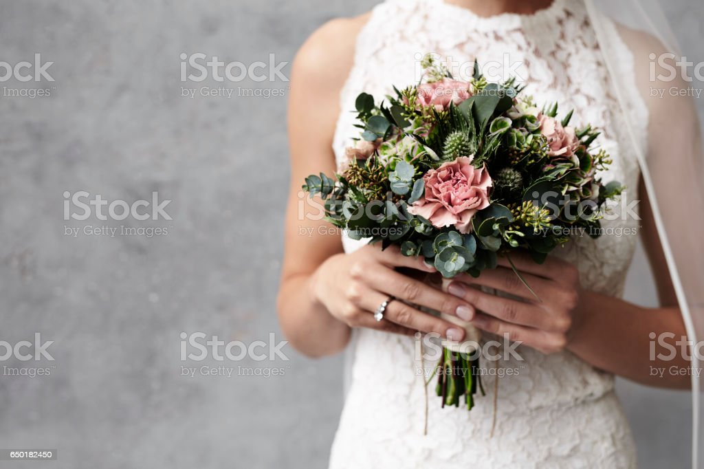 Roses for bride stock photo