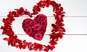 istock roses in a heart-shaped bowl 638480086